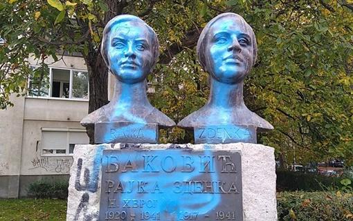 Niški komunalci oprali spomenik sestrama Baković